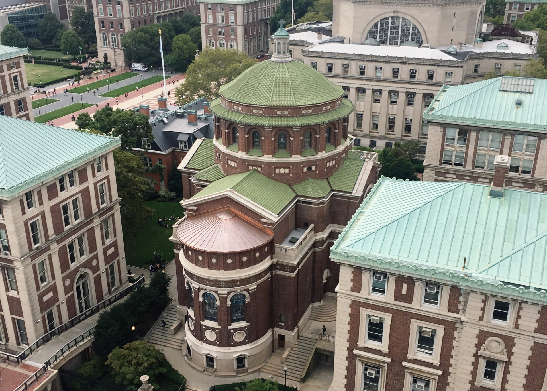 An aerial of St. Paul's Chapel with a new roof
