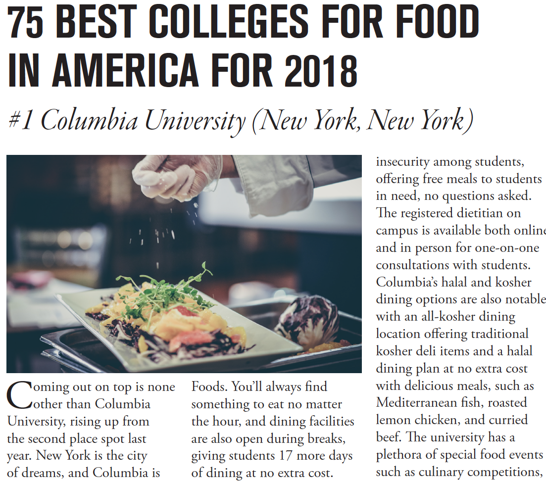 "Screenshot of article that reads ""75 Best Colleges for Food in America for 2018: #1 Columbia University"" with a photo of a chef sprinkling cheese on a dish, and a story about Columbia underneath"