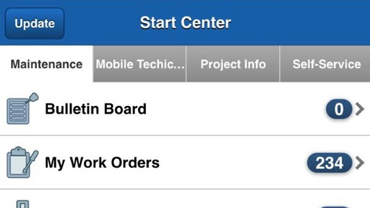 Screenshot of EzMaxMobile with a list of options to manage work orders