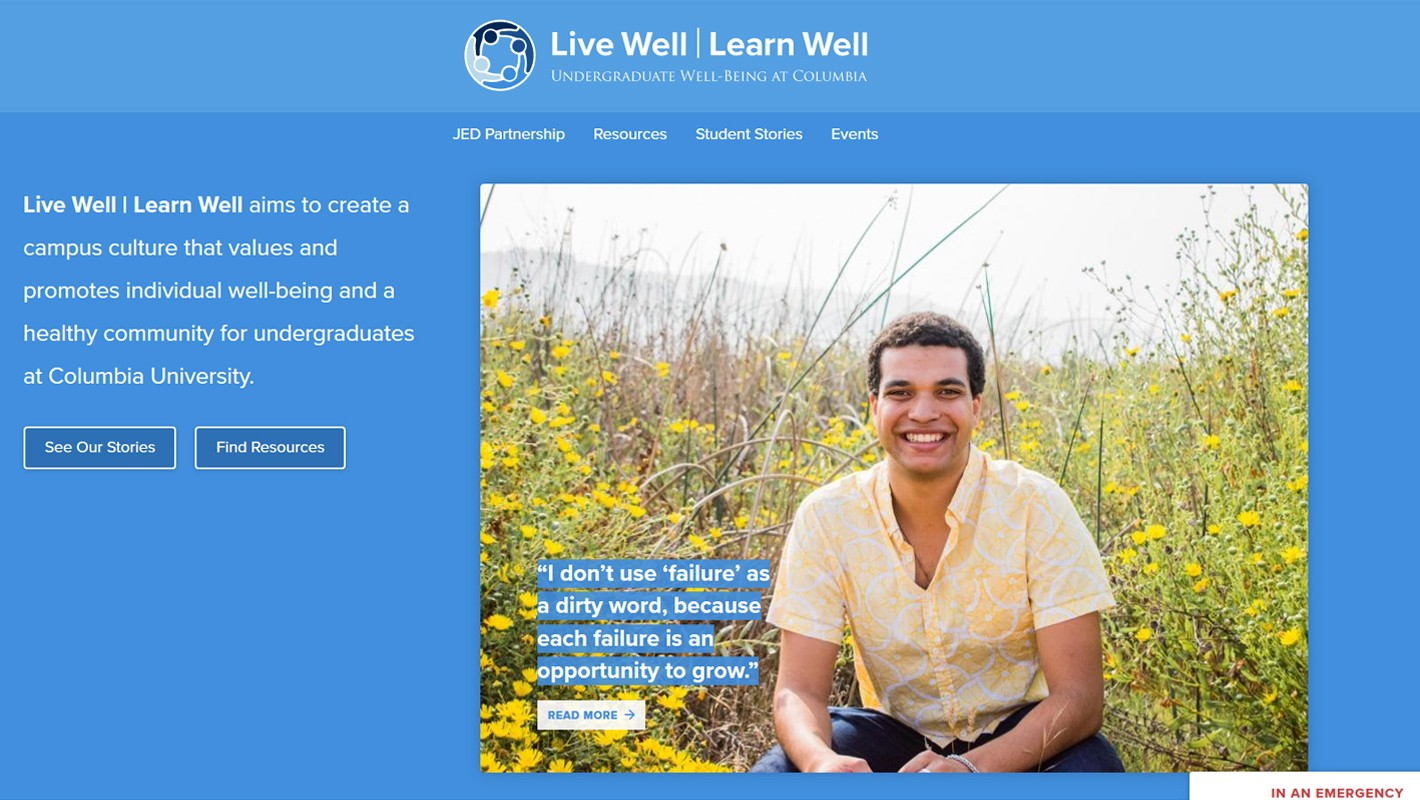 Screenshot of the Live Well | Learn Well website, with a blue background, and a photo of a smiling man next to a bunch of flowers.