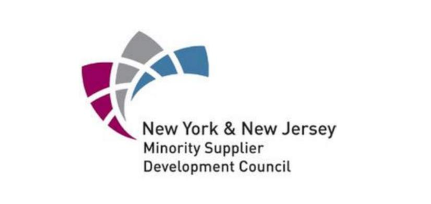 New York & New Jersey Miniority Supplier Development Council logo with maroon, gray, and blue shapes