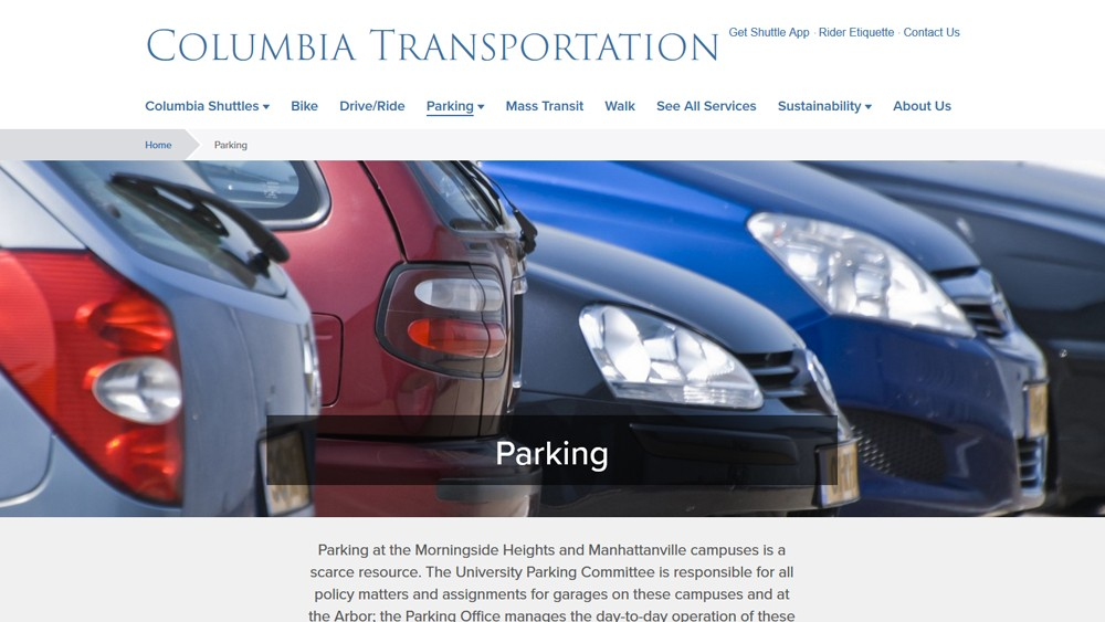 Screenshot of the Parking webpage, with a picture full of cars and information about parking at the Columbia Morningside and Manhattanville campuses