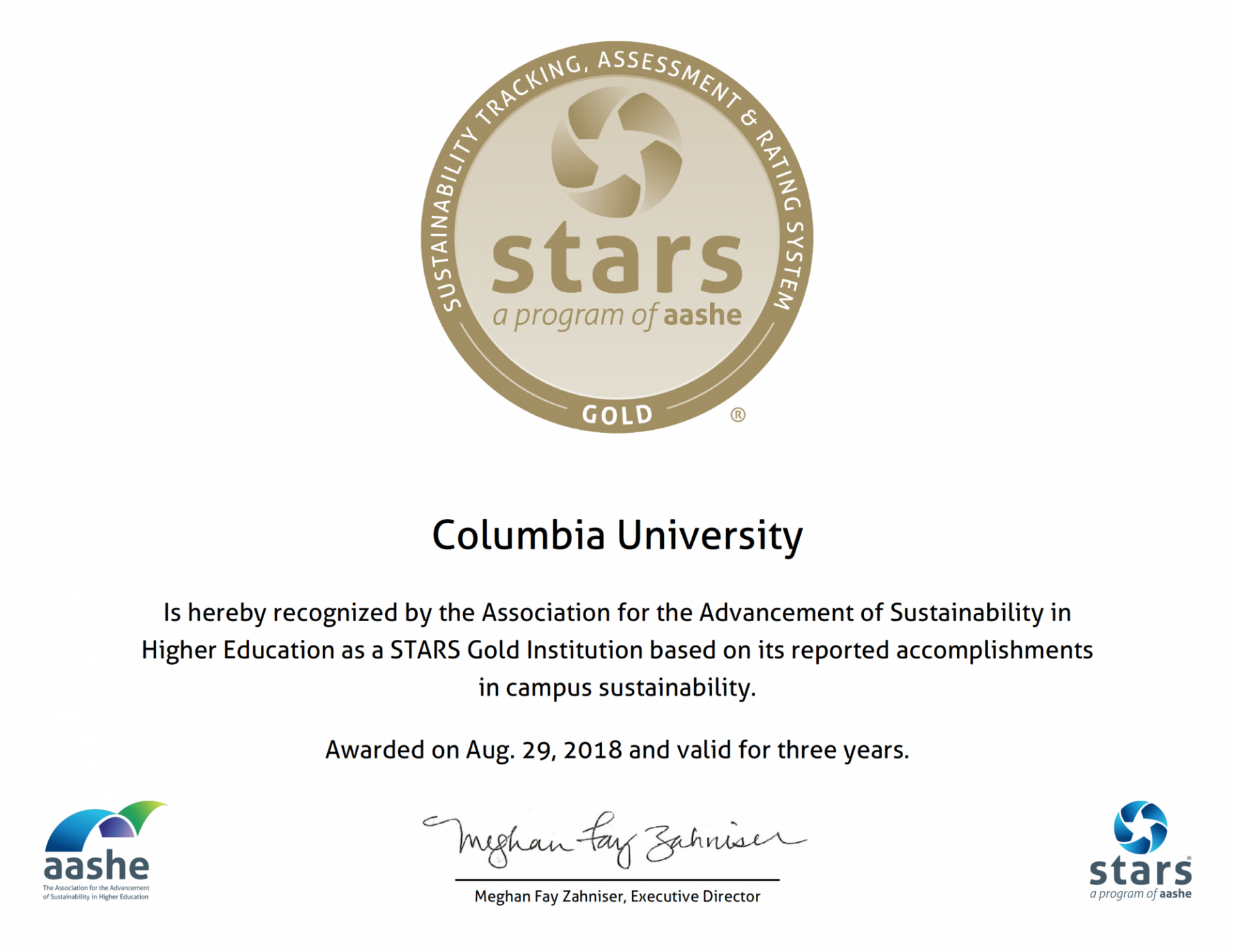 STARS certificate awarded to Columbia for its ccomplishments in campus sustainablity