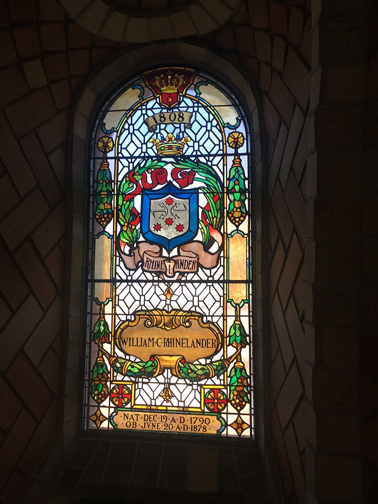 A restored stained-glass windows inside of the dome of the chapel.